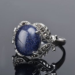 $enCountryForm.capitalKeyWord NZ - K's Gadgets Blue Sand Natural Stone Ring Oval Inlaid Zirconia Big Rings for Women Silver Color Natural Stone Ring anel vintage