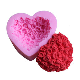 Silicone heart Shaped chocolate mould online shopping - Love Heart Shape Silicone Mould Pink Rose Flower Cake Baking Tools Hand Made Chocolate Pudding Mold For Valentines Day zy B