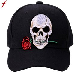 $enCountryForm.capitalKeyWord Australia - Women Men Skull Printed Baseball Cap 2018 Summer Hip Hop snapback Cap Adjustable Rose Embroidery Hat gorras para hombre