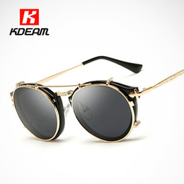 ce sunglasses 2019 - Kdeam Happy Clip On Sunglasses Men Removable Round Glasses Women Carve Design Sunglass With Brand Box CE discount ce sun