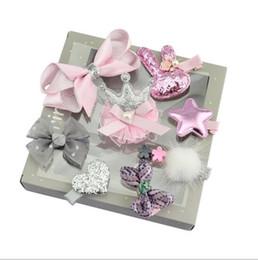 Hair Color Edges Australia - Children Hair Accessories Baby Birthday Gift Ten Suits Girls Crown Tiara Tiara Hairpin Edge Bow Hair Ornaments