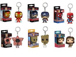 Discount metal spiderman - Captain America Spiderman wonder woman iron man tree man Grude Keychain pendant