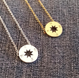 man disk UK - 5PCS Gold Silver Small Compass Necklaces Pendant Charm for Women Men South Direction Necklace Disc Circle Disk Necklaces Coin Jewelry