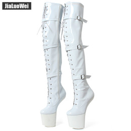 hoof boots Canada - jialuowei High Leg Boots Lace up Extreme High Heel Fetish Heelless Horse Stallion Hoof Sole over knee boots crotch
