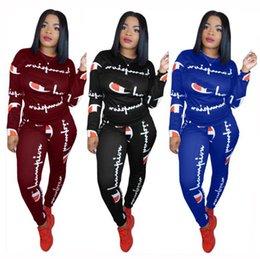Mulheres Carta Dos Campeões Carta Treino de Manga Longa Camiseta Top + Calças Leggings 2 PCS Conjunto Jogger Outfits Sportswear Roupas Terno S-3XL