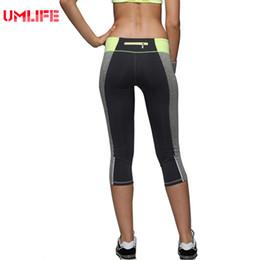 Leggings Sport Pants Canada - UMLIFE Tight Sport Running Pants For Women Sexy Seven Length Trouser Elastic Fitness Breathable Quick Dry Leggings Dance pants