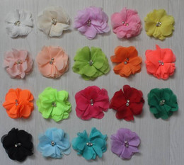 "$enCountryForm.capitalKeyWord Australia - 60pcs 2.5"" chiffon fabric flower for babies hair accessories,rehinstone flower for girls headbands,kids headband flowers"