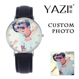 Wrist Watches Logos Australia - YAZI DIY Custom Wrist Watch Photo Print Watches Fashion Creative Commemorate Lucky Logo Quartz Watch Anniversary Gift For Lover
