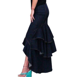 China S- XXL 2017 Spring Autumn Fashion Slim Mermaid Style High Waist Long Denim Skirt With Tassels Women Ruffles Dovetail Skirt OK supplier long denim skirts women suppliers