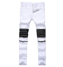 4e5ed645 Men White Red Punk Hip Hop Jeans With Multi Zippers Mens High Stretch  Skinny Jeans Slim Fit Denim Pants Biker Trousers size 28-42