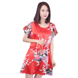 Sexy Summer Clothing Sleeping UK - Summer New Women Nightgown Loose Red Night Dress Sexy Rayon Sleep Shirt Peacock Sleepwear Lady Home Clothes Short Night Dress