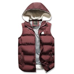 sleeveless cardigan vest UK - Autumn Winter Hooded Vest Men Sleeveless Jacket Mens Vest Casual Zipper Cardigans For Man Outerwear Warm Coat Streetwear Clothes