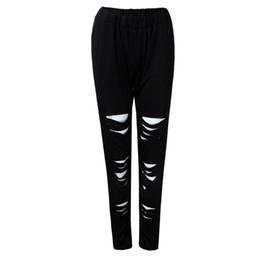 Plus Size Yoga Pants UK - 2018 New Fashion yoga pants Polyester Elastic Waist Plus Size Sexy Leggings Trousers Yoga Sport Hole Casual Pants Womens