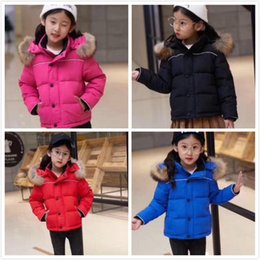 Discount jacket hat baby - New arrival Canada Brand Logo Winter Down Coats Child Down Jackets Baby Boy Girl Kids Thicken Big Fur Hooded Parkas Wind