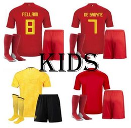 c2362bf084e 2018 World Belgium Jersey BOYS Home 18 19 yellow away LUKAKU kids FELLAINI HAZARD  KOMPANY DE BRUYNE Soccer Jersey football shirt