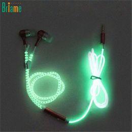 Venda quente fone de Ouvido Fone De Ouvido Fones De Ouvido Inoxidável Brilhante de Metal Zíper Luz Luminosa Fulgor No Escuro Fone De Ouvido Para telefone Inteligente MP3 venda por atacado