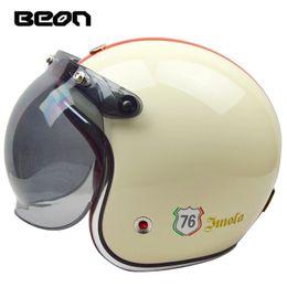 $enCountryForm.capitalKeyWord Australia - Beon open face half 3 4 glass fiber motorcycle helmet vintage retro chopper motorbike helmets with visor summer spring suitable