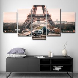 romantic art posters Australia - Canvas HD Prints Pictures Home Wall Art Room Decor 5 Pieces Paris Eiffel Tower Paintings Romantic Doves Couple Posters