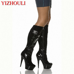 Wholesale 15cm classics ladies black PU leather sexy knee high boots winter inch platform high heel boots for women Fetish Dance Shoes