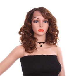 China 16 inch Bouncy Curly Wigs For African Hairstyle Ombre Brown Synthetic Hair Lace Front Wig for Women suppliers