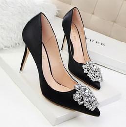 $enCountryForm.capitalKeyWord NZ - emerald grey pink black color fashion new style diamond silk high heel pointed toe buckle wedding pricess shoes 485