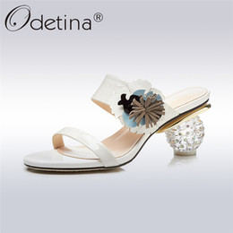 Leather High Heel Shoes Flower NZ - Odetina 2018 New Fashion Luxury Genuine Leather Women Slippers Transparent Strange High Heels Flower Ladies Slides Summer Shoes