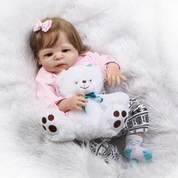 "Discount bebe hair 22"" bebe girl s full body silicone reborn baby dolls rooted smooth hair with bear child present gift toy boneca"