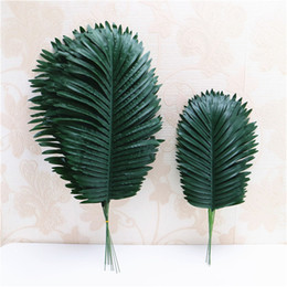 coconut flowers 2019 - Artificial green coconut leaf simulation green plant wall flower accessories DIY wedding decor for flower wall home deco