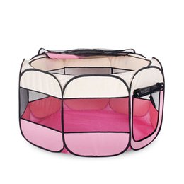 nylon cage 2019 - Pink red Folding Pet Tent Cage Fence Playpen For dog carrier Dogs Home Puppy Fence Kennel Kitten House Cage Dog House Pe