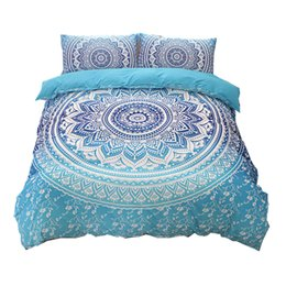 China Wholesale-Bohemian bedding sets Mandala Printing Blue Black White boho Single Double Queen King Size Duvet Cover set (no filling,no sheet) cheap blue double bedding sets suppliers