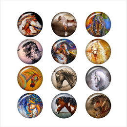 Snap Glasses For Australia - horse glass snap button for DIY jewelry Round photo cabochons DA1070