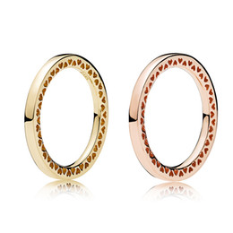 Chinese  925 Sterling Silver Radiant Hearts Rose gold Ring Original box for Pandora Jewelry Gold Ring for Women Best Gift manufacturers