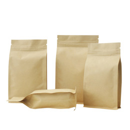 Chinese  kraft paper eight edge sealing bag zip lock brown bag,aluminum foil thicken packaging tea,coffee,nut,grain food package pouch manufacturers