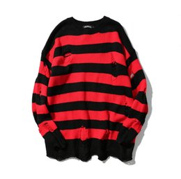 48964ff8ba2 Men red striped sweater online shopping - Black And Red Stripe Hole Knitted  High Street Loose