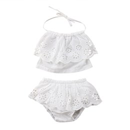white lace shorts outfits UK - Summer Toddler Kids Girls Clothes Set Summer Sleeveless Lace Ruffle Halter Tops Shorts Girl Clothing Solid White Outfit 2PCs