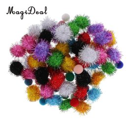 $enCountryForm.capitalKeyWord UK - wholesale 80 Pieces Mixed Fuzzy Pom Poms Balls Glitter Poms Assorted Colors for Arts and Crafts Wedding Home Party Decor