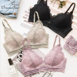 75399ef2feef5 Ormond Sexy Lace Triangle cup Bra Sets For Women Wireless Thin Cotton  Breathable Comfortable Underwear Solid color Lingerie Set