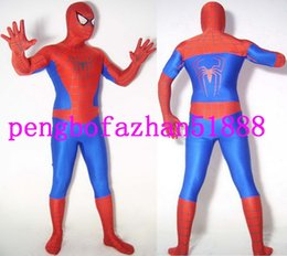 Homme Spandex Rouge Hommes Pas Cher-Rouge / Bleu Lycra Spandex Spiderman Héros Costume Catsuit Costumes Unisexe Spider-Man Costume Outfit Fantaisie Araignée Homme Costumes Costumes Outfit P142