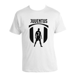 50b80ebc019 Cristiano Ronaldo CR7 T-shirt F.C. Juve White 100% Cotton shirt Mens 2018  fashionable Brand 100%cotton tops wholesale tee