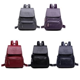 f297ada95593 Women Pu Leather Backpack 5 Colors Solid Teenager School Bags Large  Capacity Travel Sports Outdoor Bags Girls Backpacks OOA5865