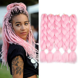 blonde kanekalon braiding hair Australia - Pure Color Black Pink Purple Blue Red Blonde Color Synthetic 100% Kanekalon Jumbo Braids Hair Extension White Women Twist