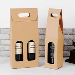 $enCountryForm.capitalKeyWord NZ - wholesale hot Kraft Paper Wine Bags Hot-stamping logo Package Oliver Oil Champagne Bottle Carrier Gift Holder