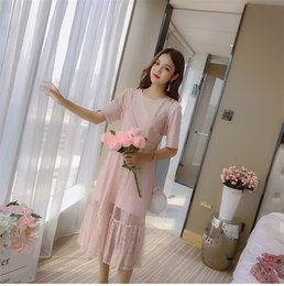 323b9a5de6d 2018 Summer Women Holiday Suits Korean Fashion Short Sleeve T-shirts Strap  Lace Dress Sets Vintage Two Piece A Line Beach Dress