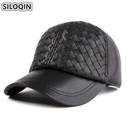 SILOQIN New Genuine Leather Hats For Men Women Adjustable Size Winter Thick Warm  Baseball Cap Men s Sheepskin Hat Women s Caps 96b1fca4d0d5