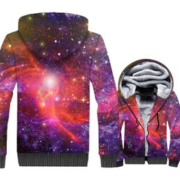 Discount plus size space hoodie - Space Galaxy 3D Print Hoodie Men Colorful Nebula Hooded Sweatshirt Harajuku Coat Winter Thick Fleece Zipper Jacket Plus