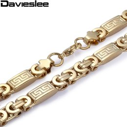 cf7168a43fb6 8mm Mens Chain Boy Necklace Gold Color Flat Byzantine Greek Pattern Link  Stainless Steel Necklace Wholesale Gift Jewelry LKN269