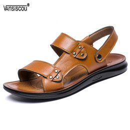 $enCountryForm.capitalKeyWord NZ - VANSISCOU Top Quality Men Sandals Cool Summer Genuine Leather Light Weight Male Beach Casual Shoes Open Toe Men Outdoor Slippers