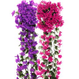 Chinese  Violet Artificial Flowers DIY Door Lintel Mirror Flower Vine Artificial Green Plant Silk Fake Flower For Wedding Home Decoration manufacturers