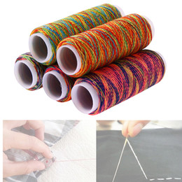 rainbow yarn 2019 - 5Pcs Rainbow Color Sewing Thread Hand Quilting Embroidery Thread Fiber DIY Home Sewing Yarn Knitting Accessories discoun