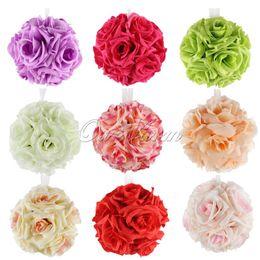 White Rose Pomander Australia - Artificial Silk Flower Rose Balls Wedding Centerpiece Pomander Bouquet For Wedding Party Decoration Decorative Flowers 5pcs  Lot